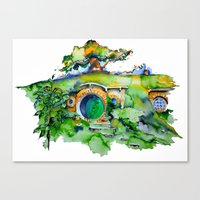 the hobbit Canvas Prints featuring hobbit hole by Jonny Moochie