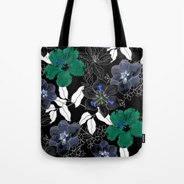 Botanical Bliss Black Tote Bag