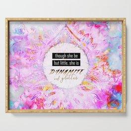 Watercolor Pastel Boho Dynamite and Glitter Serving Tray