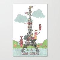 eiffel tower Canvas Prints featuring Eiffel Tower by ShangheeShin
