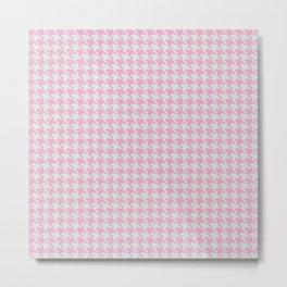 Pink & Green Pixelated Houndstooth Pattern Metal Print