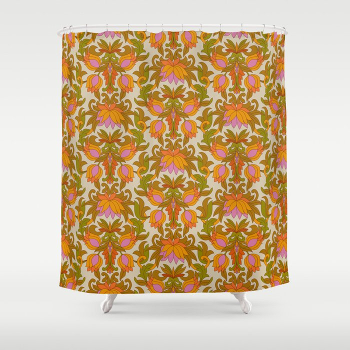 Orange, Pink Flowers and Green Leaves 1960s Retro Vintage Pattern Duschvorhang