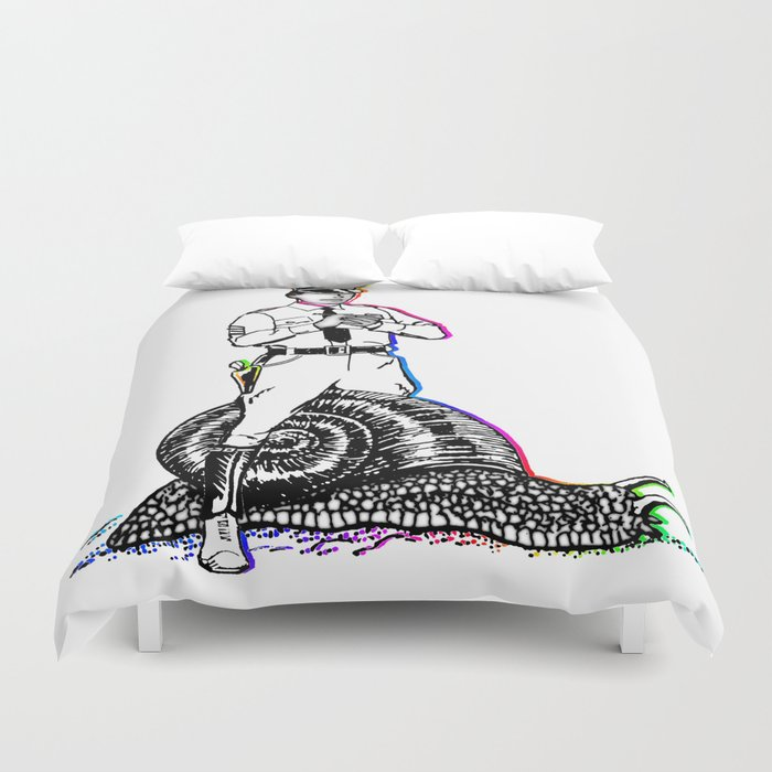 Police and snail Duvet Cover