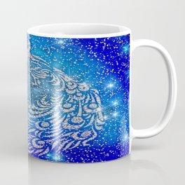 Sparkling Blue & White Peacock Coffee Mug