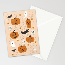 Pumpkin Party on Beige Stationery Cards