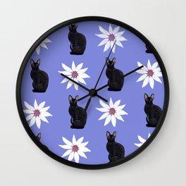 Cornish Rex Cat - Daisy Purple Wall Clock