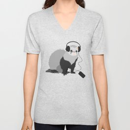 Music Loving Ferret Unisex V-Neck