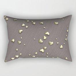 VALENTINE HEARTS - Gold Hearts & Dark Pinstripe Rectangular Pillow