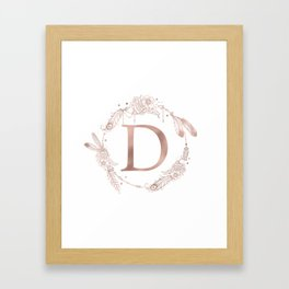 Letter D Rose Gold Pink Initial Monogram Framed Art Print
