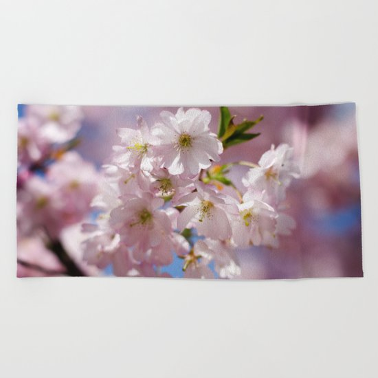 Pastel Pink flower blossom branch Beach Towel