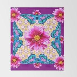 BLUE BUTTERFLIES FUCHSIA DAHLIA FLOWERS ABSTRACT Throw Blanket