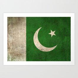 Old and Worn Distressed Vintage Flag of Pakistan Art Print