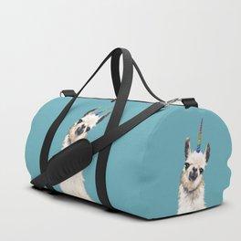 Unicorn Llama Blue Duffle Bag