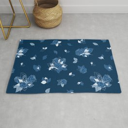 Classic Blue Roses at Midnight Rug