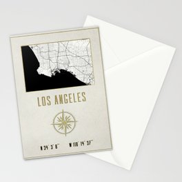 Los Angeles - Vintage Map and Location Stationery Cards