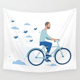 bird man bike Wall Tapestry
