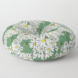 Buzzy Bees on Daisies Floor Pillow