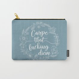 CARPE THAT FUCKING DIEM - Sweary Floral Wreath Carry-All Pouch