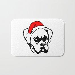 Boxer Dog with Christmas Santa Hat Bath Mat