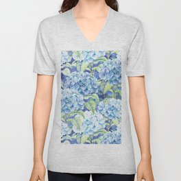 Botanical pink blue watercolor hortensia floral Unisex V-Neck