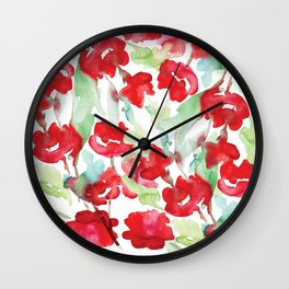 Floral Watercolor Pattern designed by #Mahsawatercolor Wall Clock
