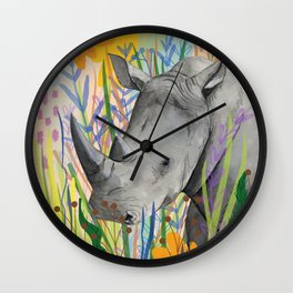 WHITE RHINO illustration Wall Clock