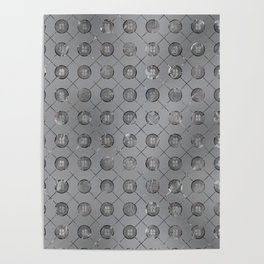 Silver Double Happiness Symbol pattern Poster