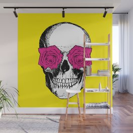 Skull and Roses | Skull and Flowers | Vintage Skull | Yellow and Pink | Wall Mural