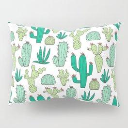 Cactus on White Pillow Sham