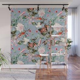 Hummingbird in vintage bloom Wall Mural