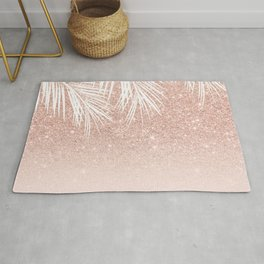 Modern tropical palm tree rose gold glitter ombre blush pink gradient Rug