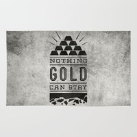 stay gold Area & Throw Rugs featuring Nothing Gold Can Stay by Sean Tulgetske