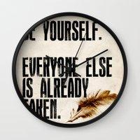 oscar wilde Wall Clocks featuring Oscar Wilde: Be Yourself by Danielle Denham