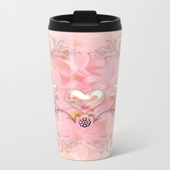 Wonderful hearts with flowers Metal Travel Mug