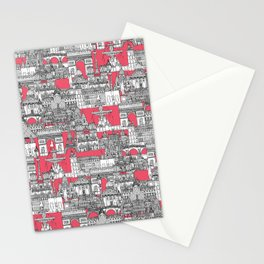 Paris toile strawberry pink Stationery Cards