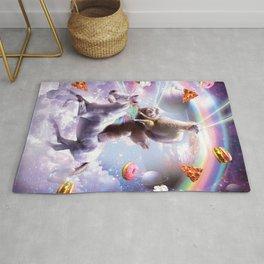 Laser Eyes Space Llama On Sloth Unicorn - Rainbow Rug