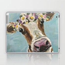 Flower Crown Cow Art, Cute Cow With Flower Crown Laptop & iPad Skin