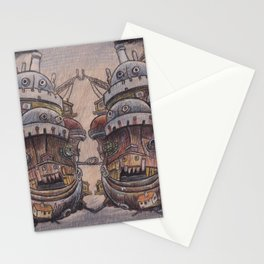 Howls Moving Castle on Wood Stationery Cards