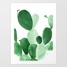 Green Paddle Cactus II Art Print