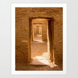 Chaco Ancient Doors Chaco Ancient Holes and a row of doors at Pueblo del Arroyo Scarf Art Print