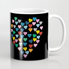 Hearts Heart Black Coffee Mug