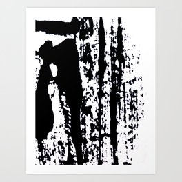 Blank: a minimal black and white linoprint Kunstdrucke