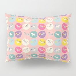 Cute Unicorn polka dots pink pastel colors and linen texture #homedecor #apparel #stationary #kids Pillow Sham