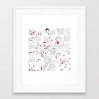 calendar Framed Art Prints featuring Calendar mess by Dreamy Me