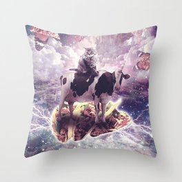 Space Cat Riding Cow Unicorn - Pizza & Taco Throw Pillow