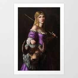 The Princess with the head of a lyne Art Print