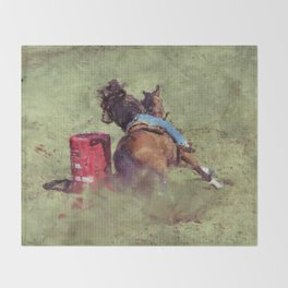The Barrel Racer - Rodeo Horse and Rider Throw Blanket