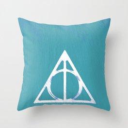 Deathly Hallows - Blue Throw Pillow