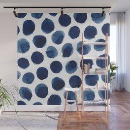 Watercolor polka dots Wall Mural