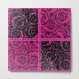 Raspberry patchwork Roses. Metal Print